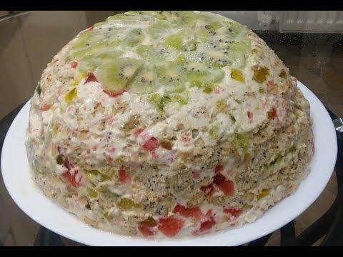 ОЧЕНЬ ВКУСНЫЙ ТОРТ БИТОЕ СТЕКЛО. Желейный торт с фруктами и печеньем. Простой торт без выпечки.
