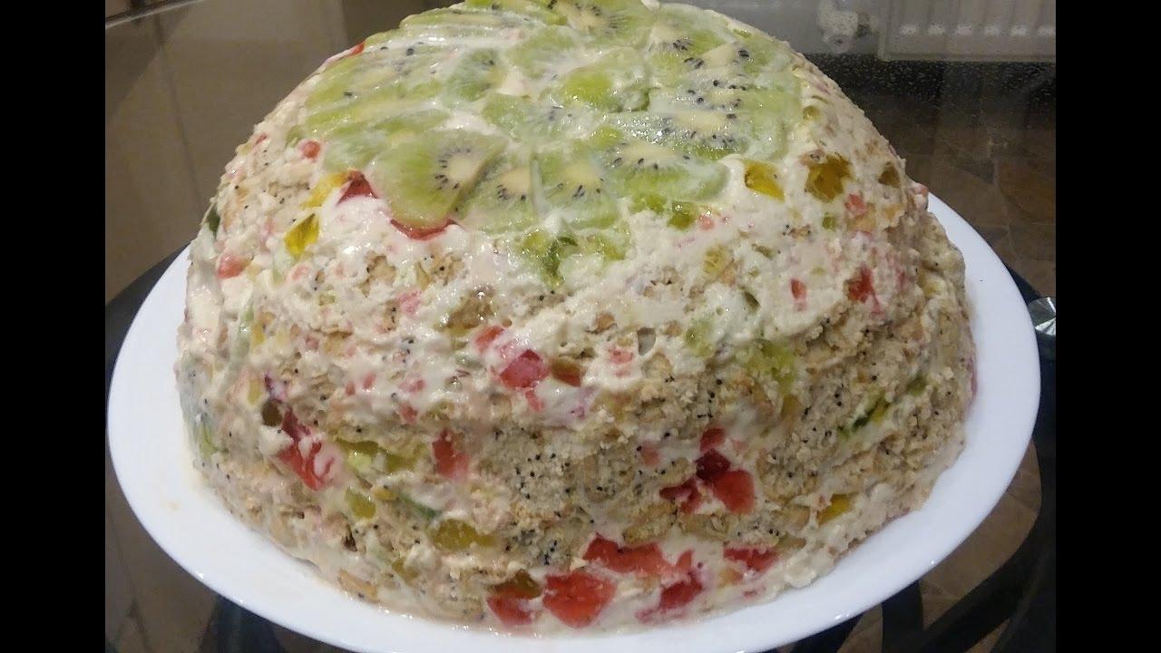 Рецепт желейного торта без выпечки с печеньем