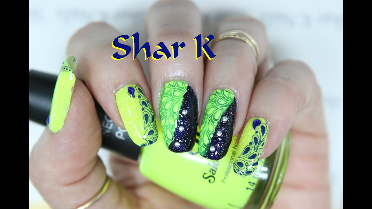 Nail Art Design Blue Navy & Neon Yellow Drops - YouTube