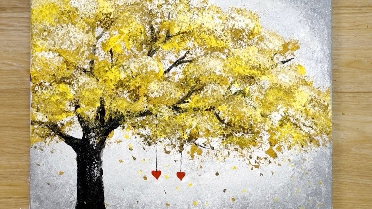 Download Aluminum painting techniques / How to draw hearts hanging on a tree / Easy drawing