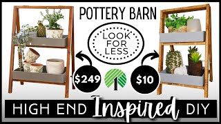 *NEW* POTTERY BARN Hİgh End Inspired DIY   DOLLAR TREE & LOW COST WOOD   Two Tier Shelf Home Decor