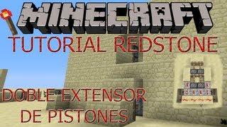 Minecraft: Tutorial Redstone Extensor horizontal doble pistonil + puerta 2x2 oculta