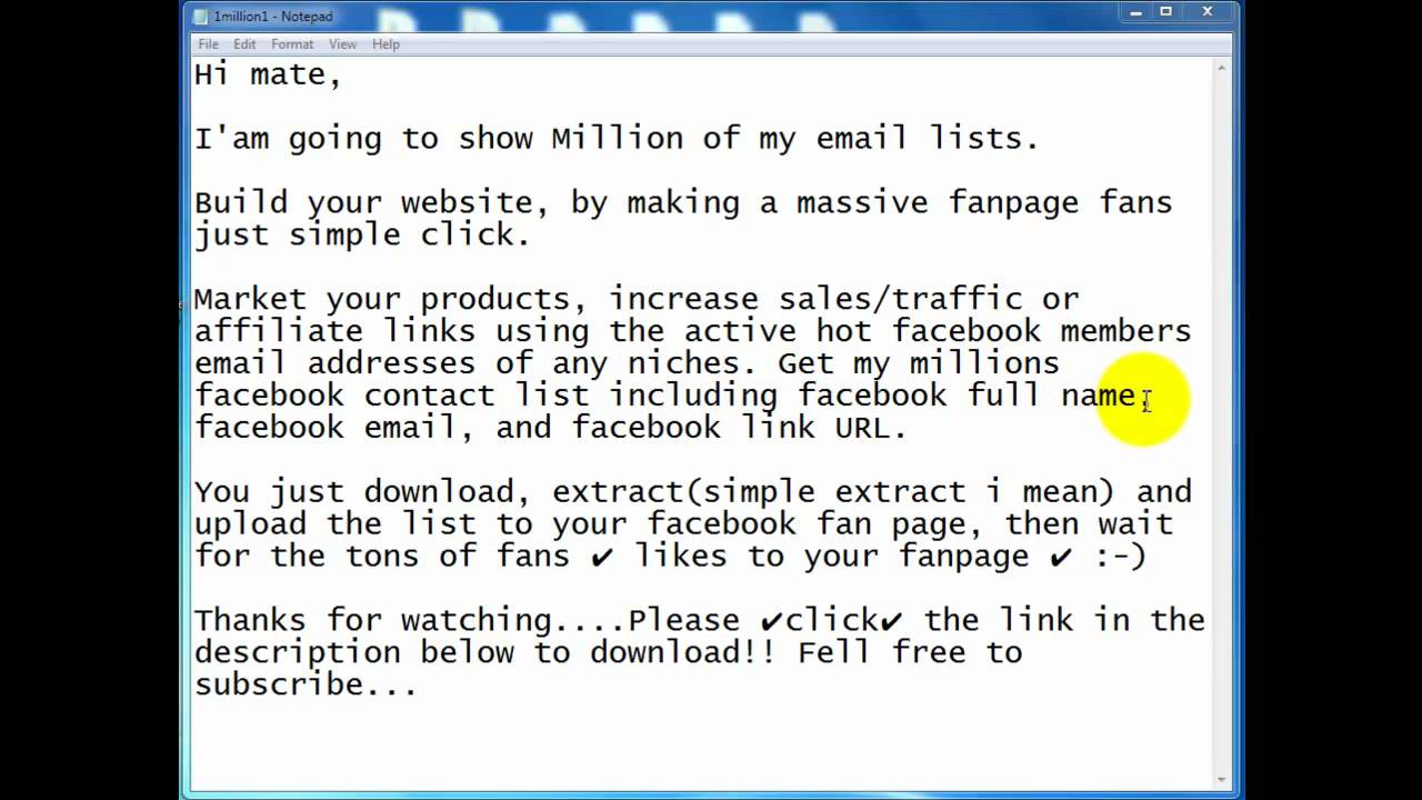 Free list of email addresses - Free Download 1 Million Email Lists With Active Facebook Profile 2 Advertise Ur Business