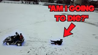 Dragged Through the Snow Behind an ATV!  *First Winter Ride of the season*