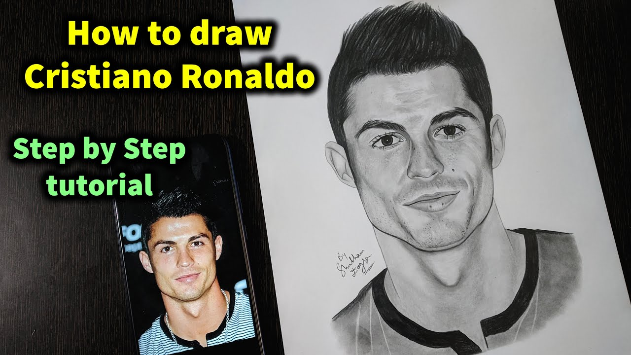 How To Draw Cristiano Ronaldo Step By Step Sketch Tutorial Part 2 Pencil Shading Blending Hair Youtube
