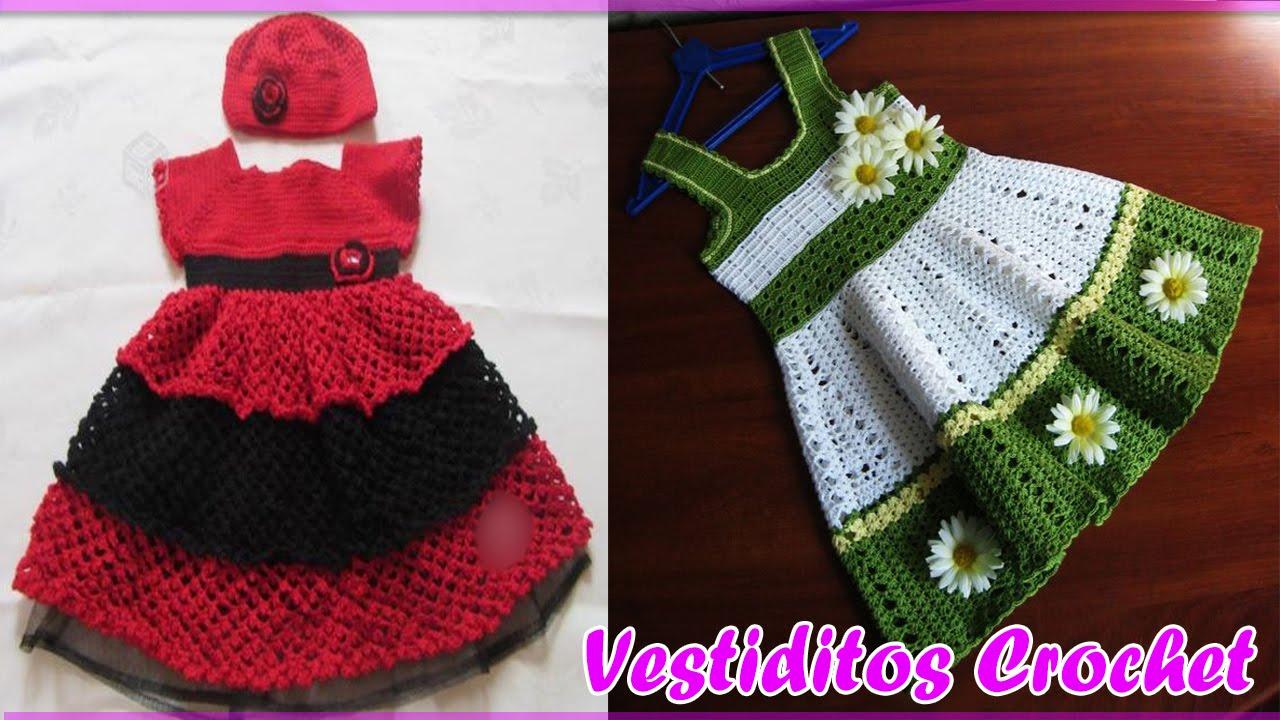 Patrones vestidos tejidos a crochet para bebe