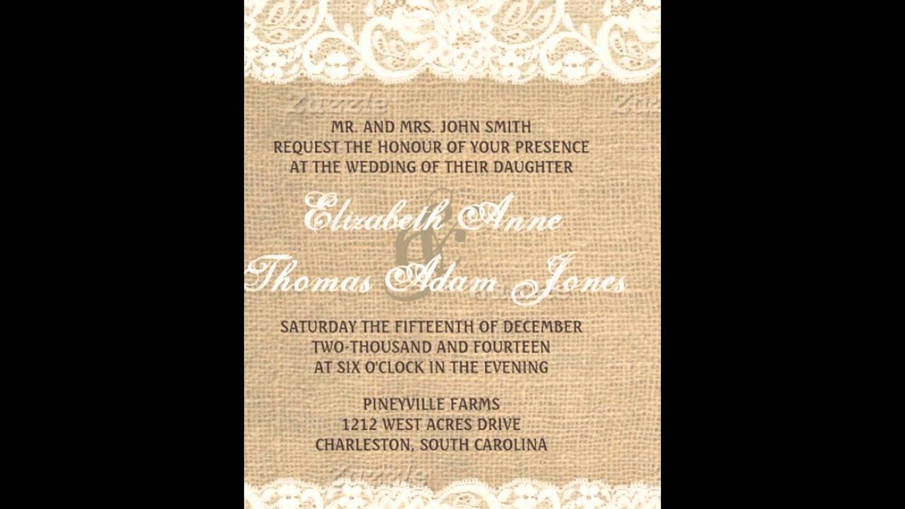 Burlap Wedding Invitations YouTube – Burlap Wedding Invites
