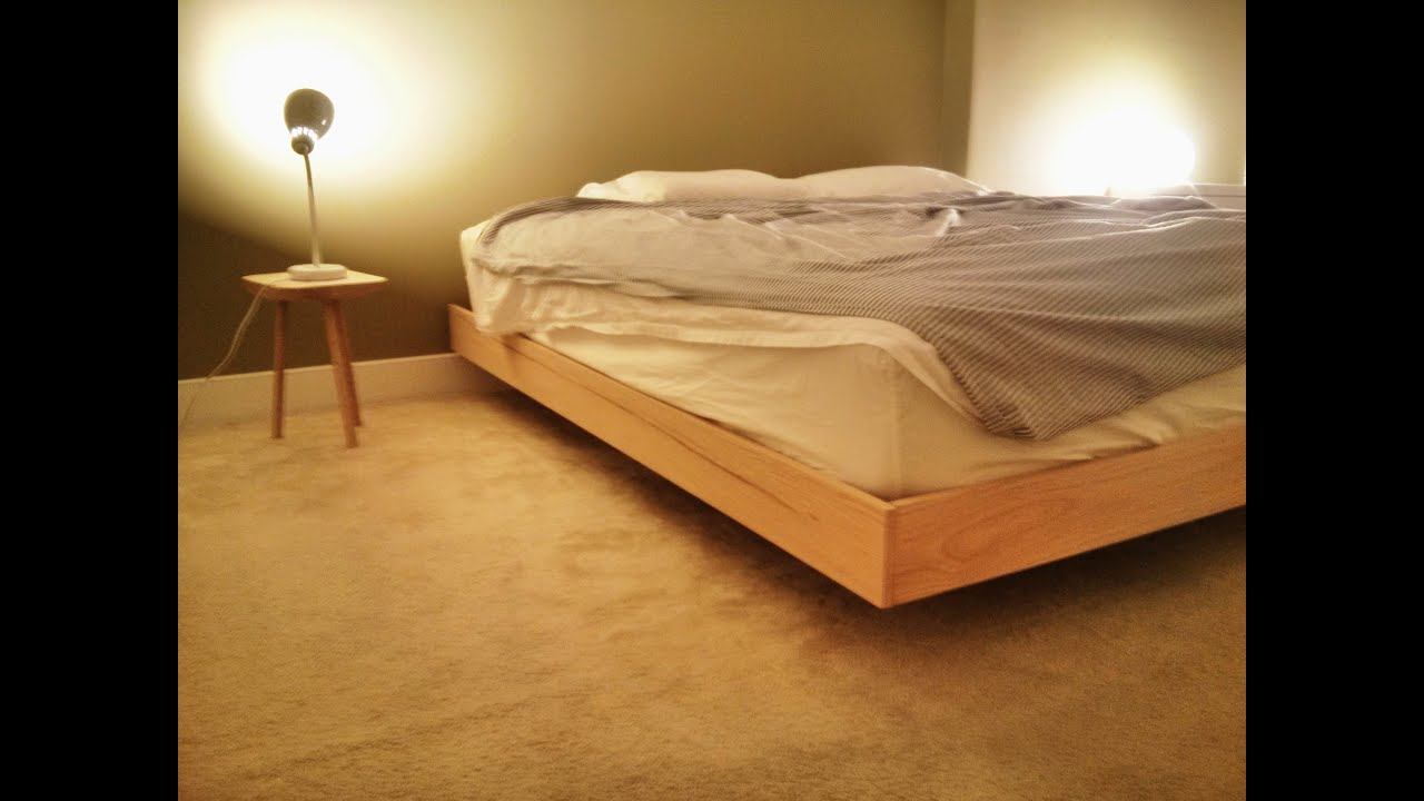 woodwork homemade king size floating platform bed assembly youtube