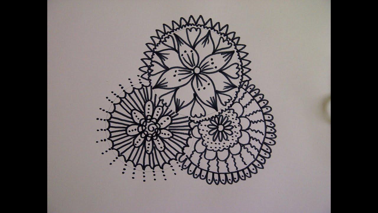 Zentangle Zeichnung Mandala Zeichnen Zeitraffer Simple Doodle
