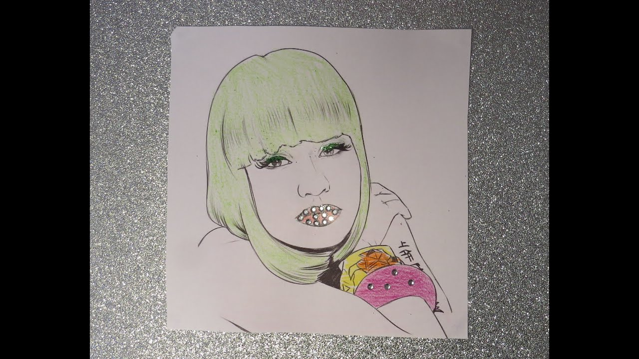 nicki minaj drawing colouring page crystals and glitter asmr
