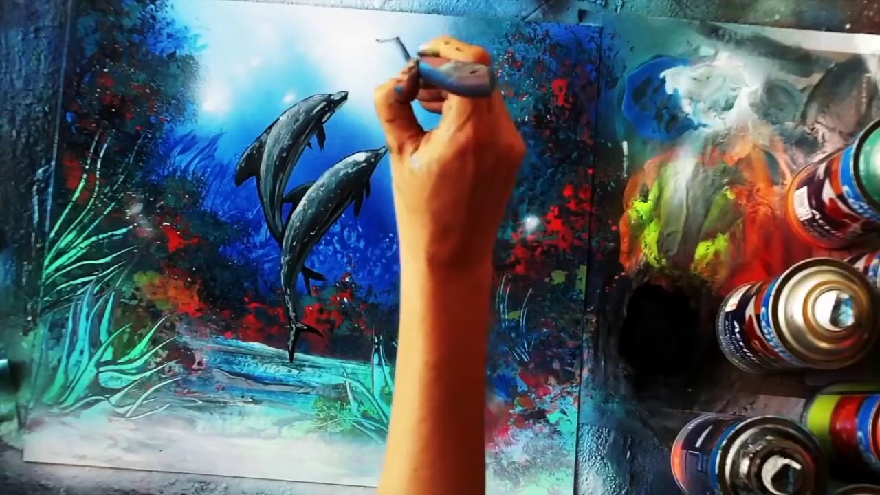 How to spray paint dolphins galaxy eyes space painting for How to spray paint art on canvas
