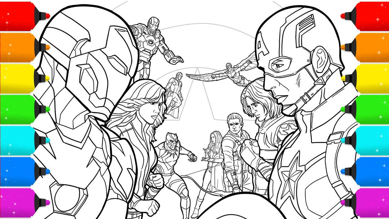 - Digital Drawing Avengers Civil War For Coloring Pages -Timelapse Video -  YouTube