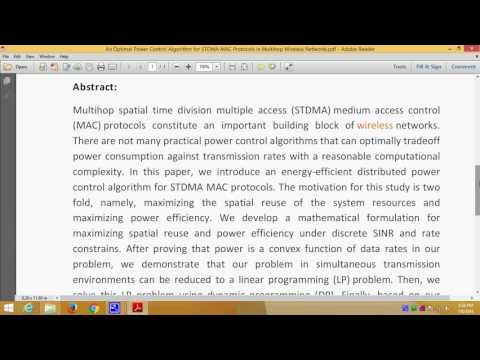 An Optimal Power Control Algorithm for STDMA MAC Protocols in Multihop Wireless Networks