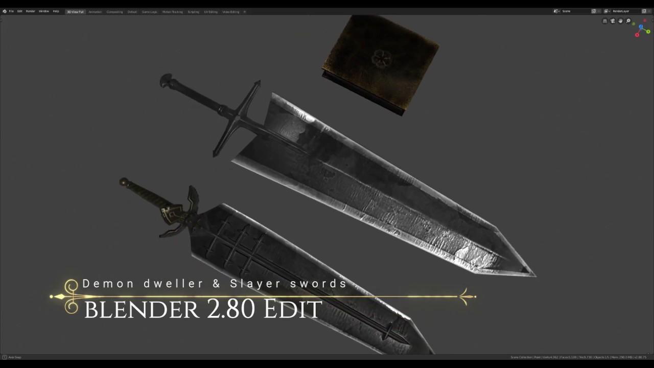 Black clover Asta's swords Blender 2.8 Edit - YouTube