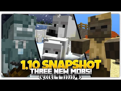 Minecraft 1.10 Snapshot | 3 NEW MOBS | MOB POWERS | Husk, Stray, Polar Bear (1.10 Update)