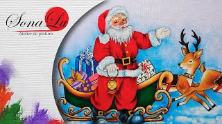 Papai Noel com Renas em Tecido ( Parte 2) Sonalupinturas