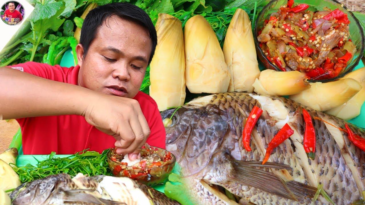 นึ่งปลาลวกผัก ต้มหน่อไม้จิ้มแจ่วพริกสดคั่วหอมแดง แซ่บระดับห้าดาว
