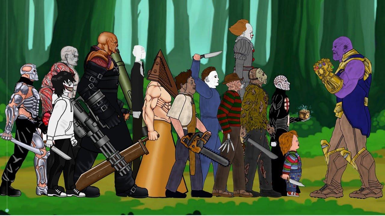 Thanos vs SLENDERMAN, Jason, Freddy, Michael, Pennywise, Chucky, Nemesis, Pyramid Head, Jeff, Tyrant