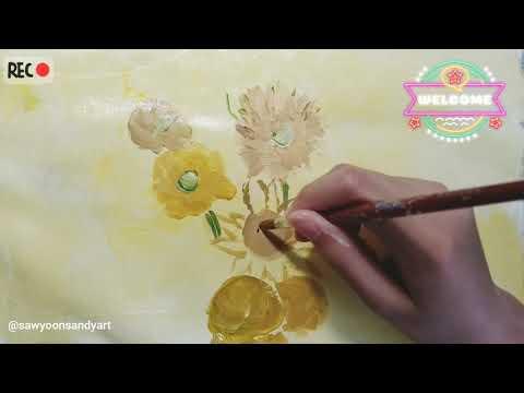 """Sunflowers"" of Van Gogh on my old tote bag!"