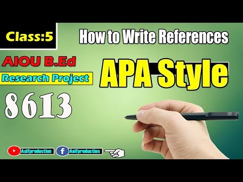 How to write Reference in apa formate for Thesis[ hindi Urdu]AIOU Research project Class 6