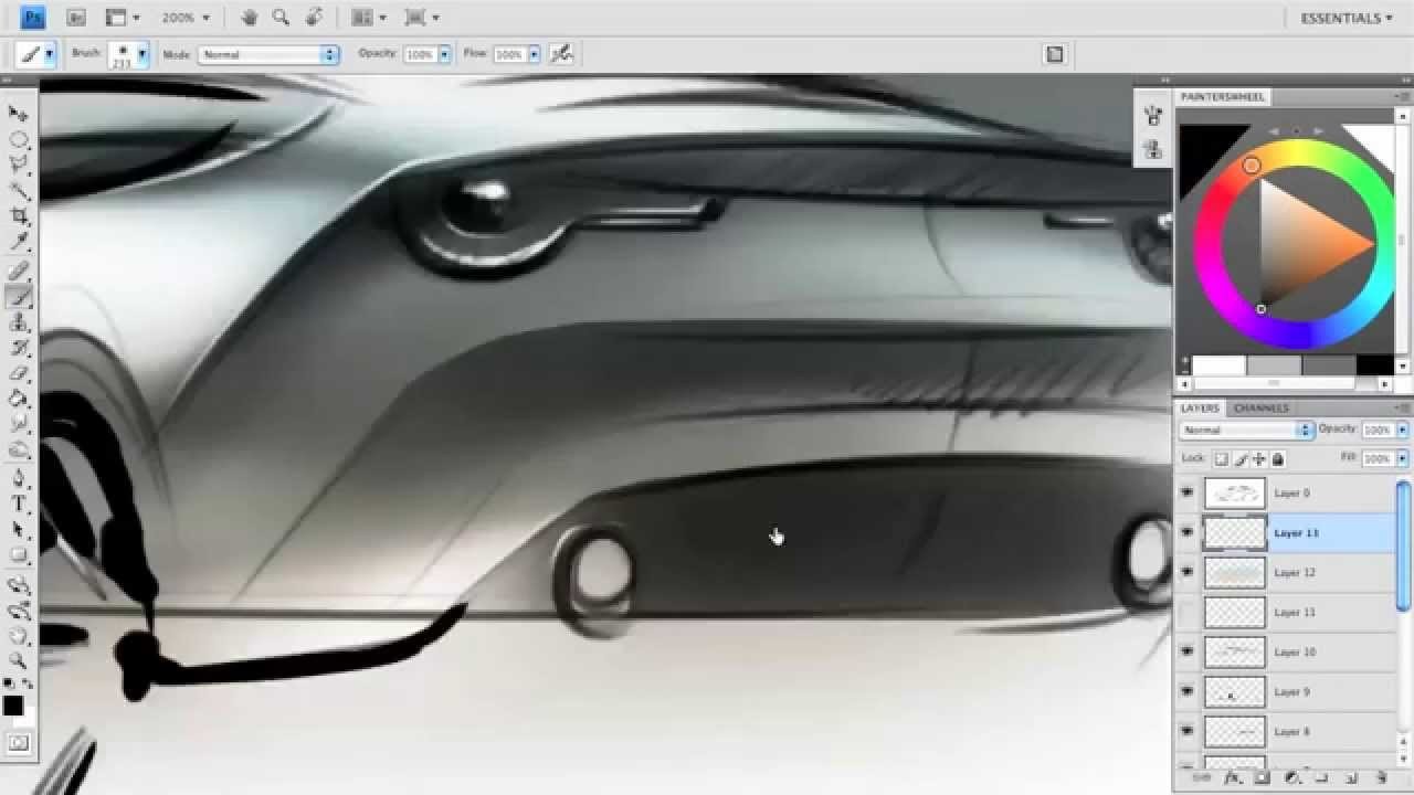 Render a car sketch in Photoshop - YouTube