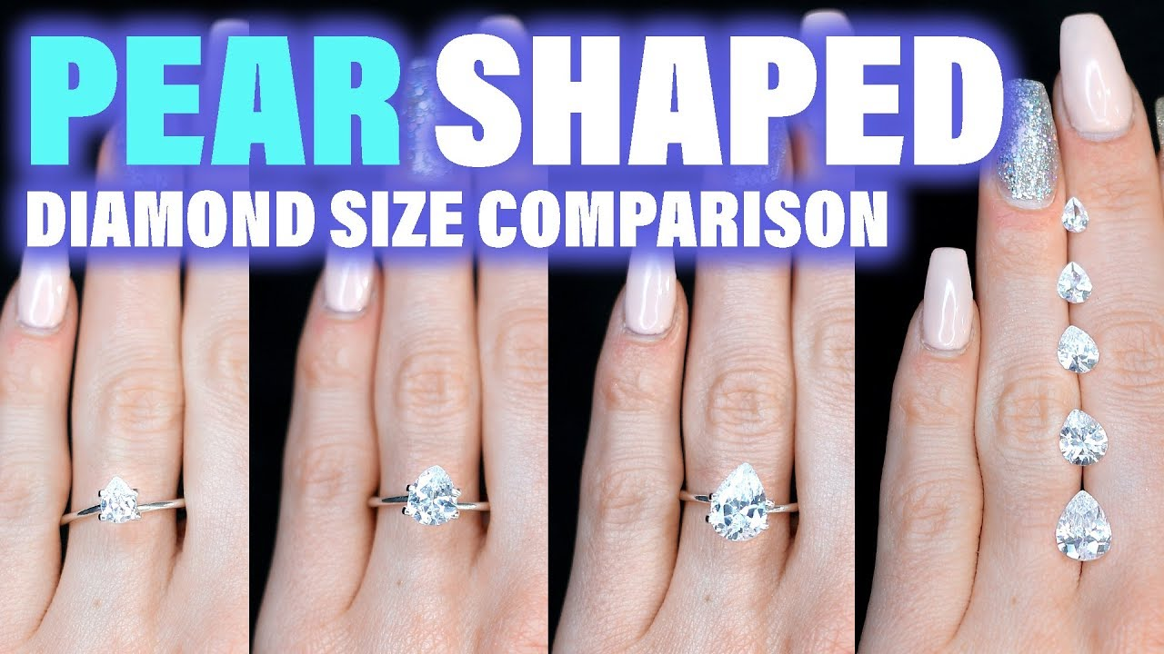 Pear shaped diamond size comparison on the hand finger engagement ring cut carat ct also rh youtube