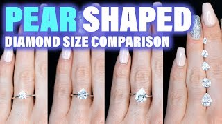 Pear Shaped Diamond Size Comparison on the Hand Finger Engagement Ring Cut 1 Carat 2 ct .75 3 4 1.5