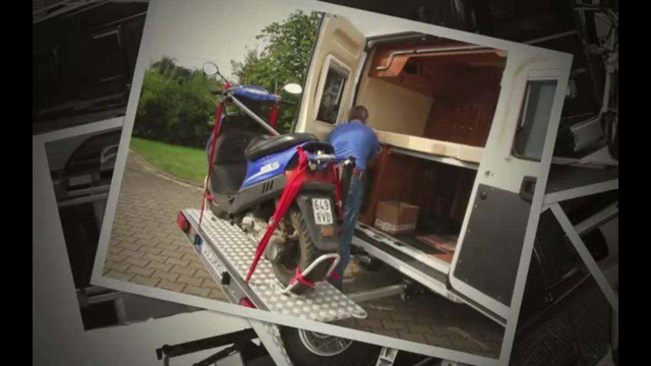 motorradtraeger rollertraeger fuer kastenwagen youtube