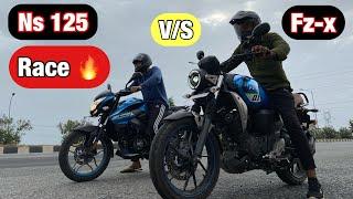 Yamaha Fz-x vs Bajaj Pulsar Ns 125 Drag Race 2021   कौन है विजेता 🤩