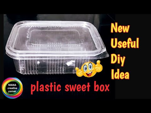 Waste Plastic sweets box reuse idea#Best out of waste disposable container craft idea# DIY