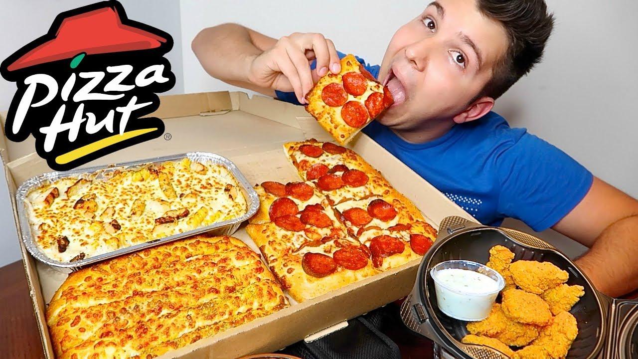 Pizza Hut Box Challenge 5 000 Calories Mukbang Youtube