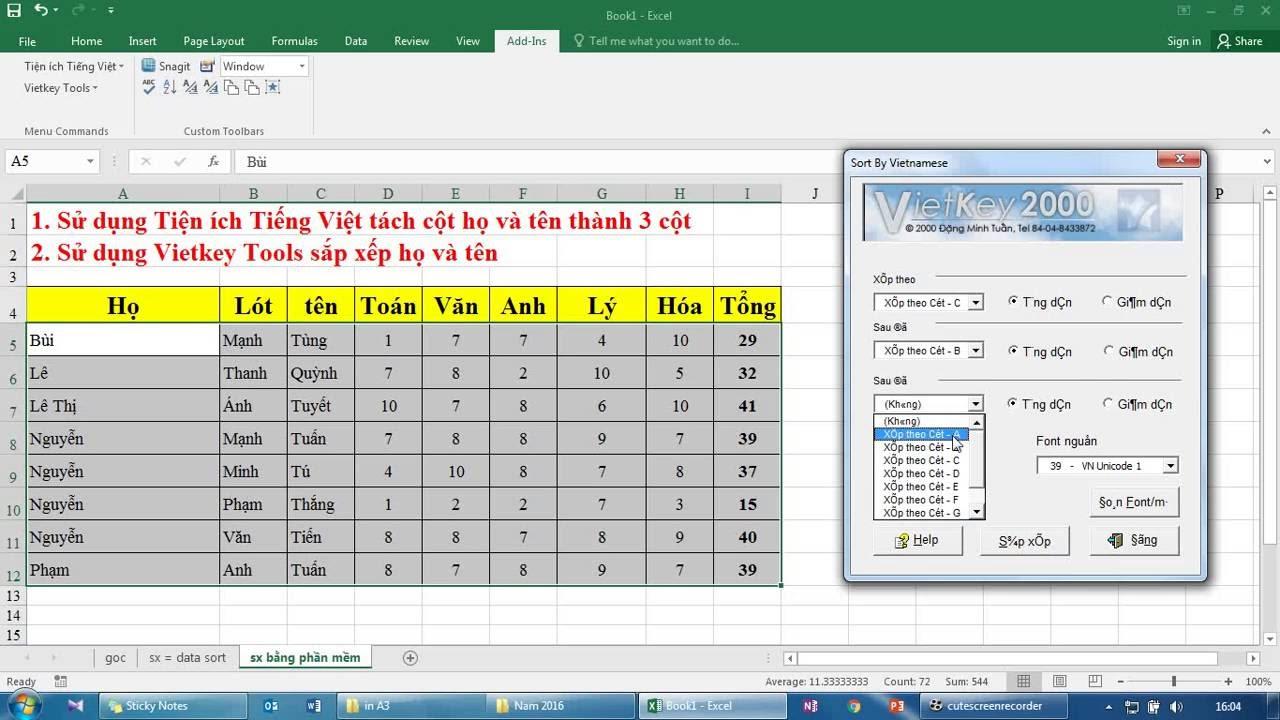 Sắp xếp họ và tên Tiếng Việt trong Excel nhanh, chuẩn không cần chỉnh