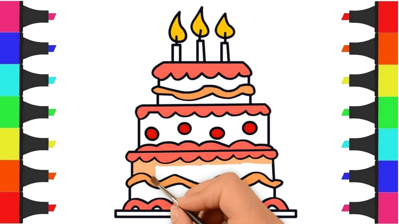 Beautiful Birthday Cake Coloring Pages For Kids Drawing And