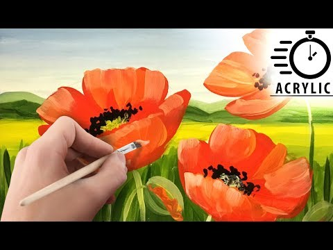 TIMELAPSE How to paint Poppies LANDSCAPE with Acrylic! Tutorial for Beginners! EASY