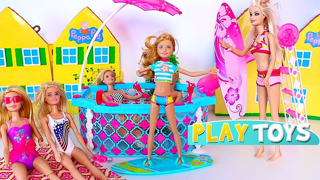 Barbie Doll Swimming Pool Party Youtube