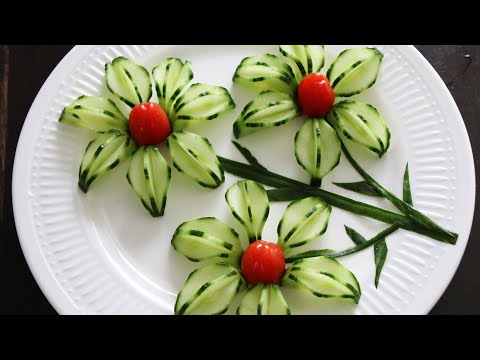 Super Vegetable Cucumber Flower Decoration Ideas - Cucumber Carving Garnish