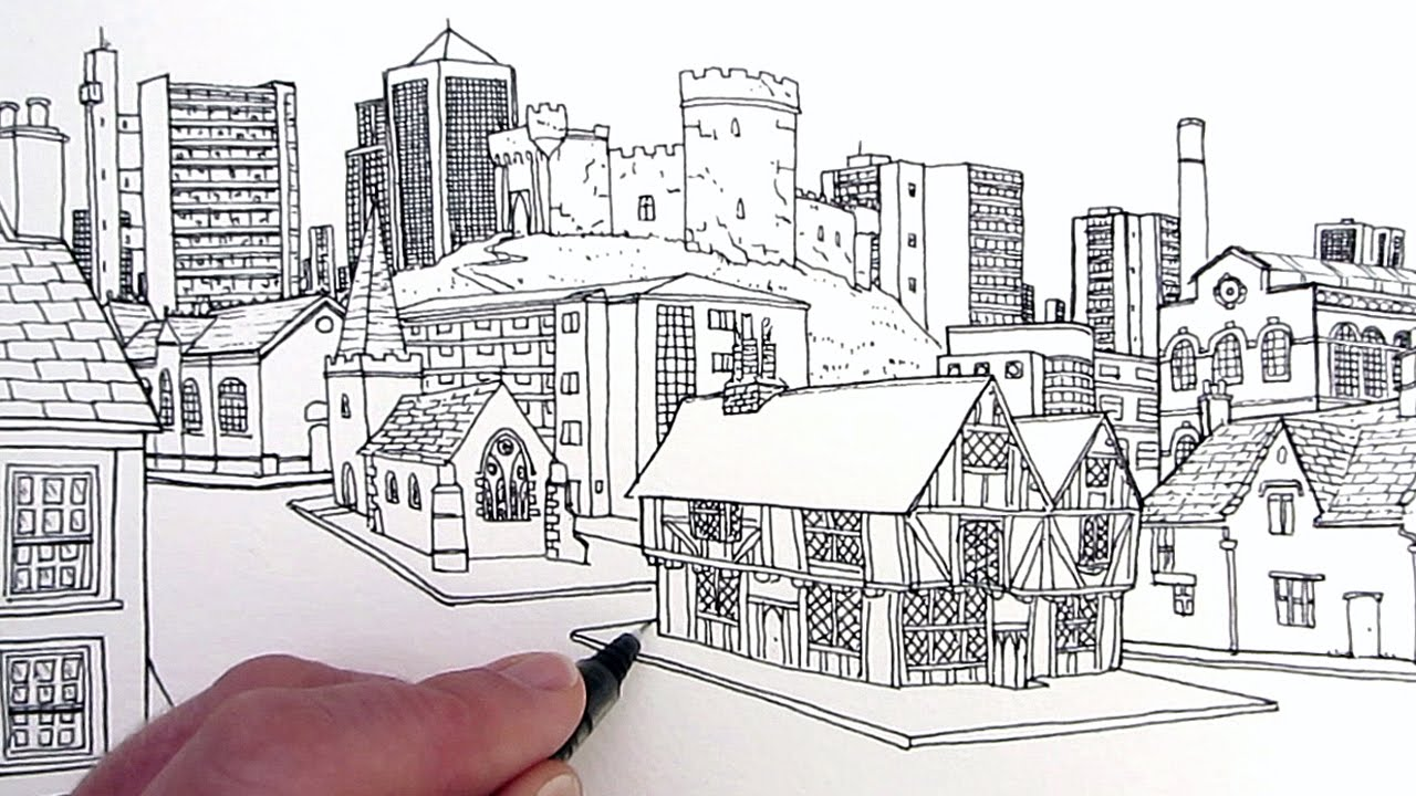 how to make a 3d city drawing