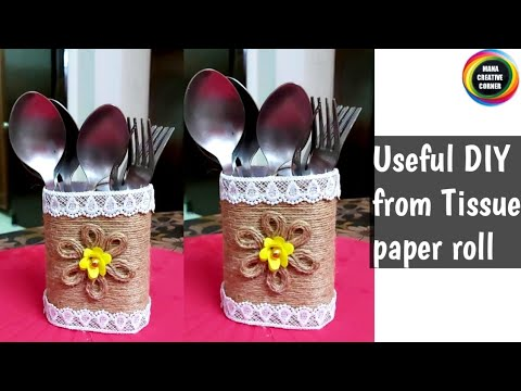 #Tissue Paper roll craft idea #Best out of waste craft easy #waste material reuse idea#DIY organizer