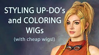 How I Style Up-Dos & Color Wigs with Paint - Rikku Wig - Cosplay Tutorial