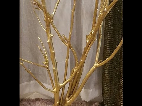 DIY:GOLD TREE Out Of Branches