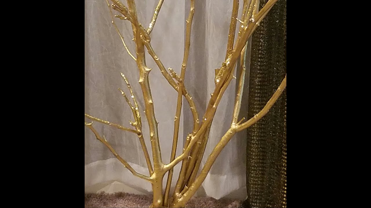 Diy gold tree out of branches youtube