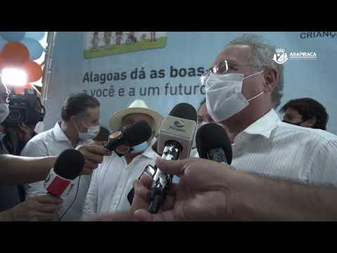 Governador Renan Filho e senador Renan Calheiros falam sobre o cartão CRIA e a duplicação da AL-110