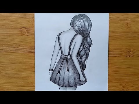 How to draw a girl with pencil sketch step by step. thumbnail