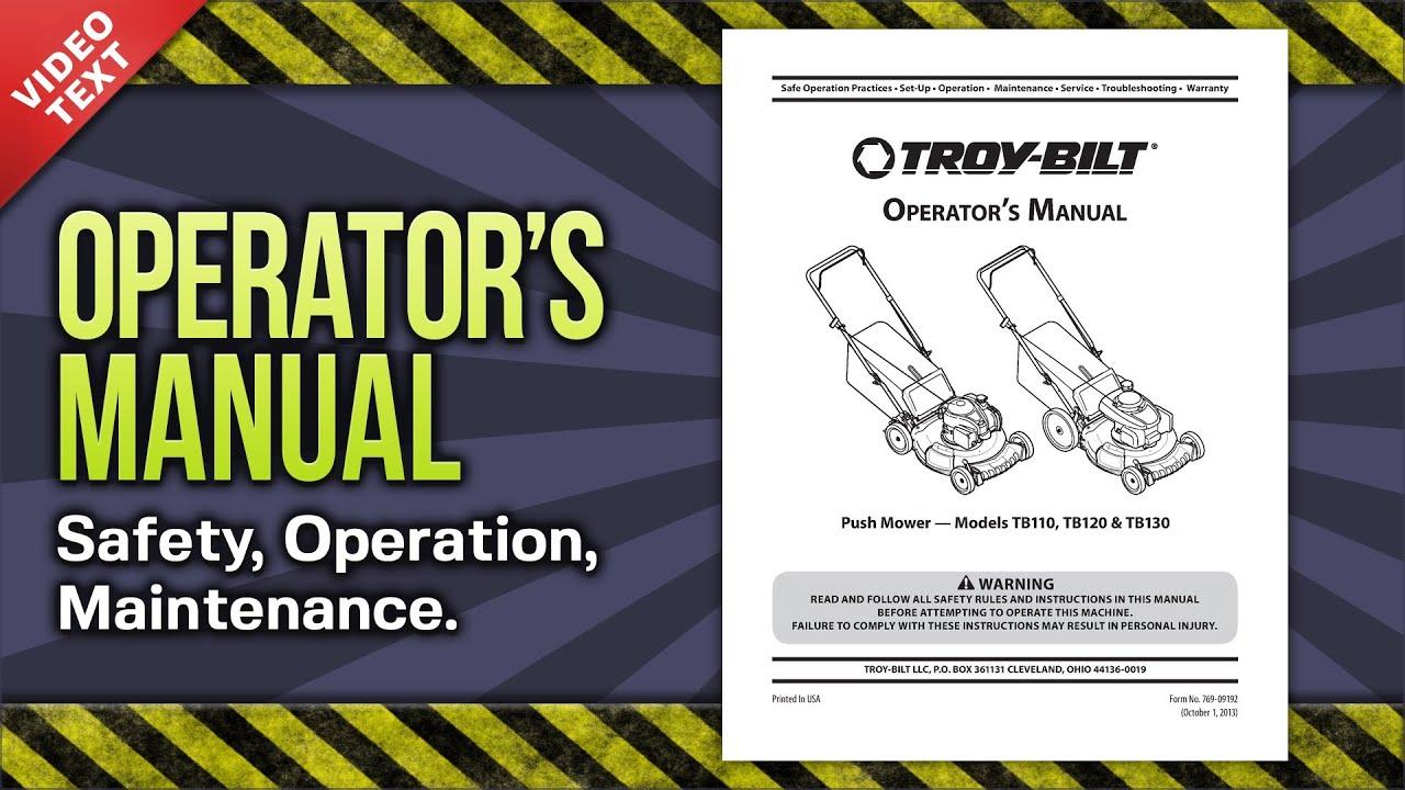 Troy Bilt Tb110 Tb120 Tb130 Push Mower