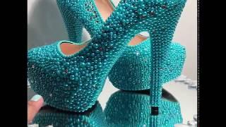 Episode 3 Swarovski Crystal Shoe with Aquamarine Beads