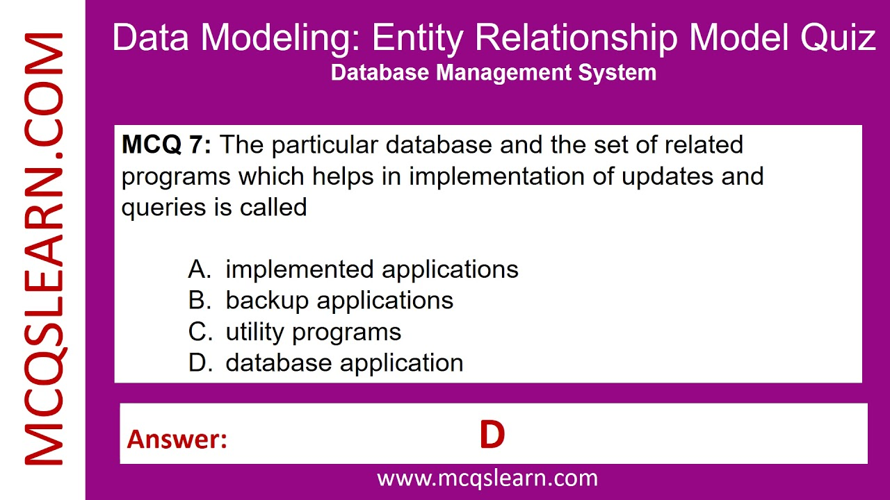 database modelling quiz This quiz poses questions with respect to relational database structure and terminology during database design.