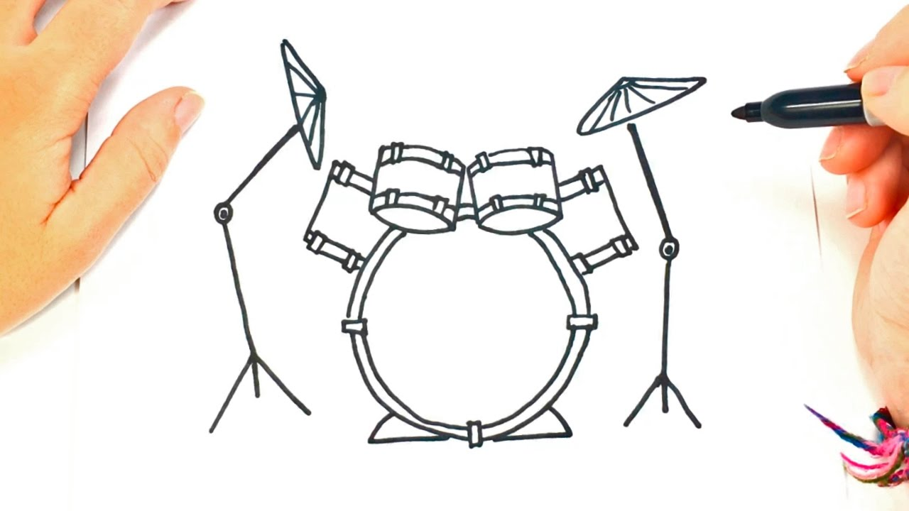 how to draw a drums drums easy draw tutorial [ 1280 x 720 Pixel ]