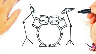 How to draw a Drums | Drums Easy Draw Tutorial