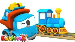 Leo the truck & train for kids. Car cartoon.