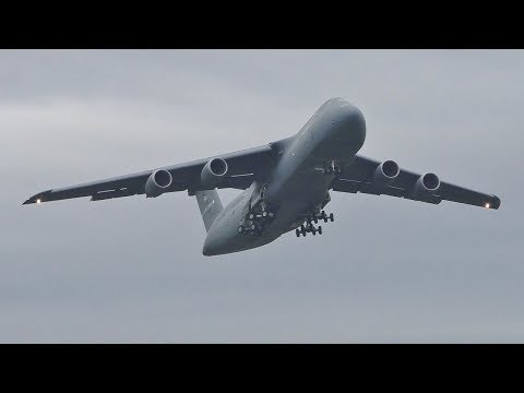 *VERY RARE* 2 USAF Lockheed C5M Super Galaxy Takeoffs at Prestwick Airport
